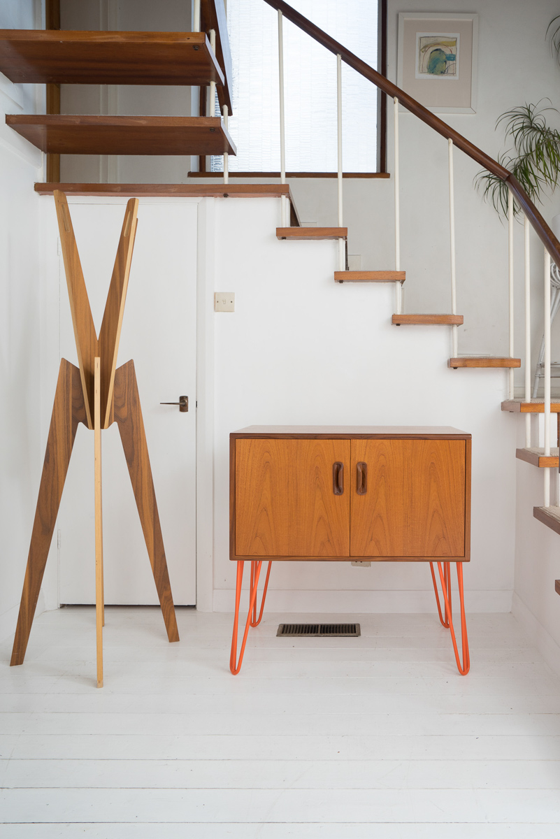 Hello Retro Design Mid Century Teak G Plan Record Cabinet on Orange Hairpin Legs