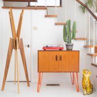 Hello Retro Design Gplan Record Cabinet on Orange Hairpin Legs