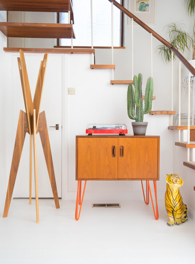 Hello Retro Design Gplan Record Storage Cabinet on Orange Hairpin Legs