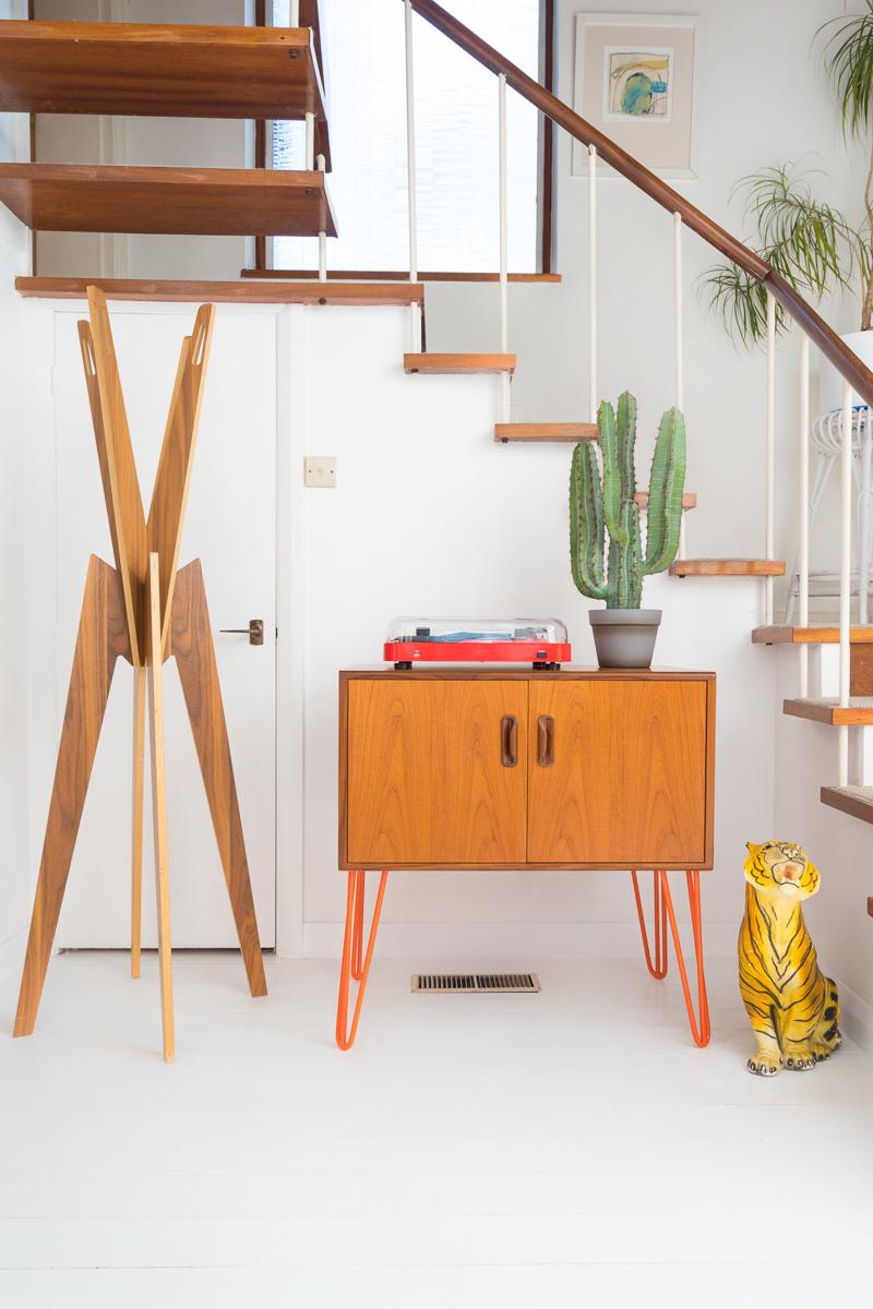 Hello Retro Design Gplan Record Storage Cabinet on Orange Hairpin Legs