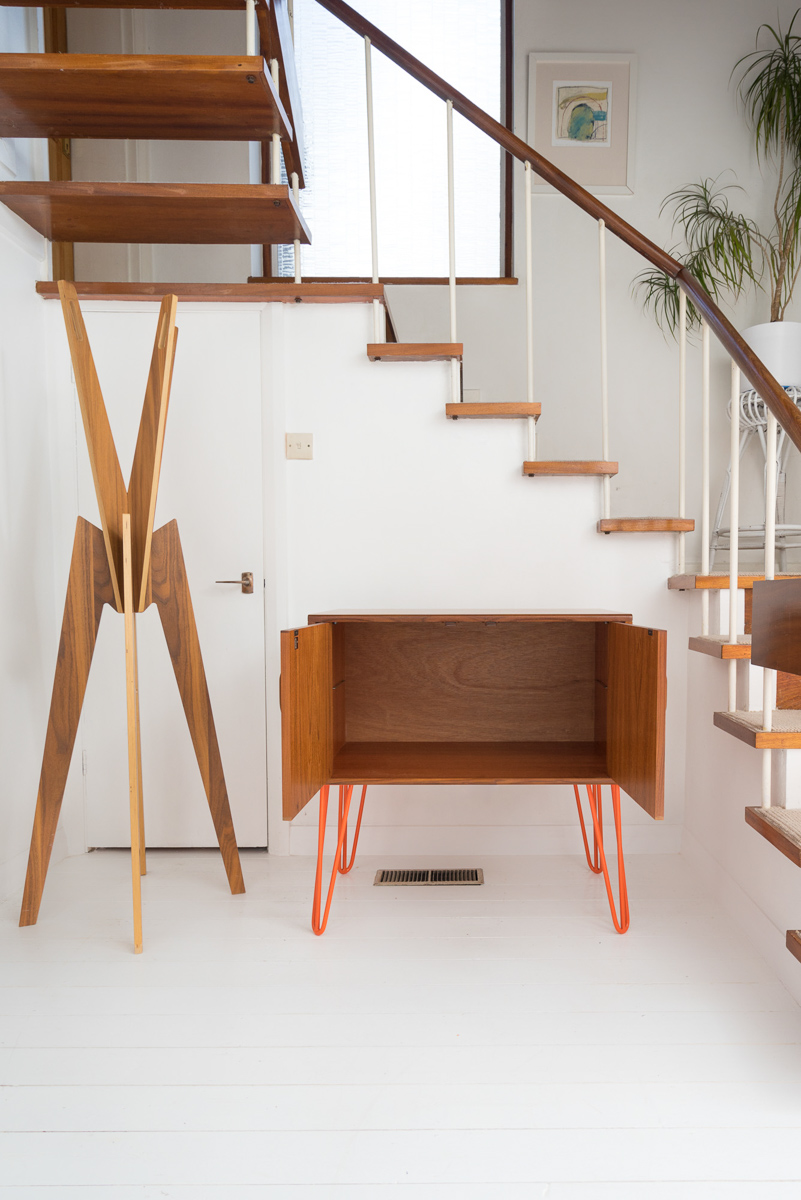 Hello Retro Design Mid Century Teak G Plan Record Cabinet on Orange Hairpin Legs. Doors open showing inside