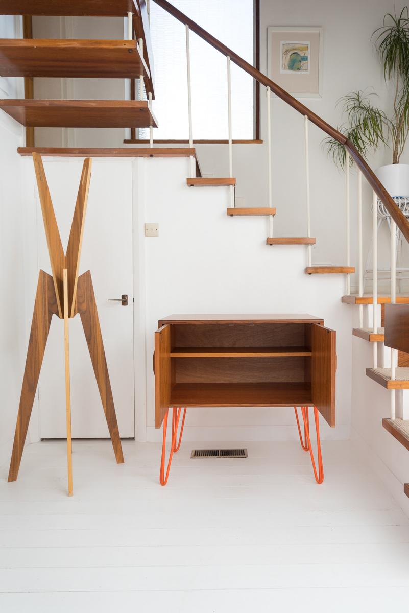 Hello Retro Design Mid Century Teak G Plan Record Cabinet on Orange Hairpin Legs doors open showing inside shelf