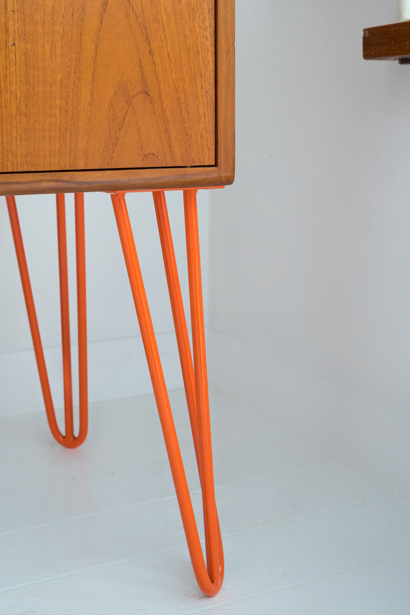 Hello Retro Design Mid Century Teak G Plan Record Cabinet on Orange Hairpin Legs leg detail shot