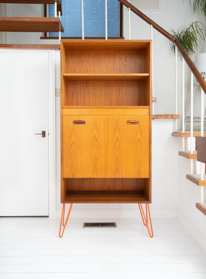 Hello Retro Design Mid Century Teak GPlan Cocktail Cabinet Bookcase on Orange Hairpin Legs