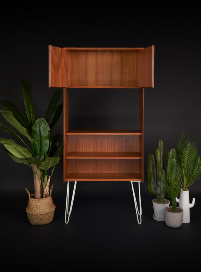 G Plan Form Five Mid Century Teak Bookcase open doors