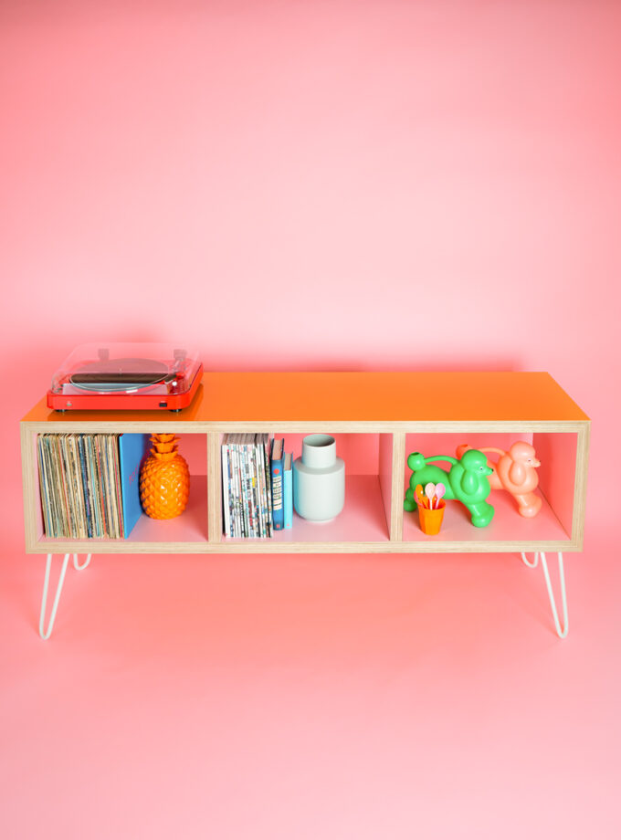 ACe & Reno Custom Sideboard Gloss Peach Exterior Matt Pink Interior on White Hairpin Legs