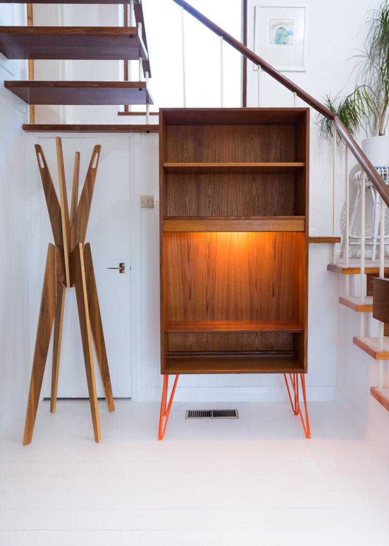 Hello Retro Design Mid Century Teak Gplan Bookcase on Orange Hairpin Legs
