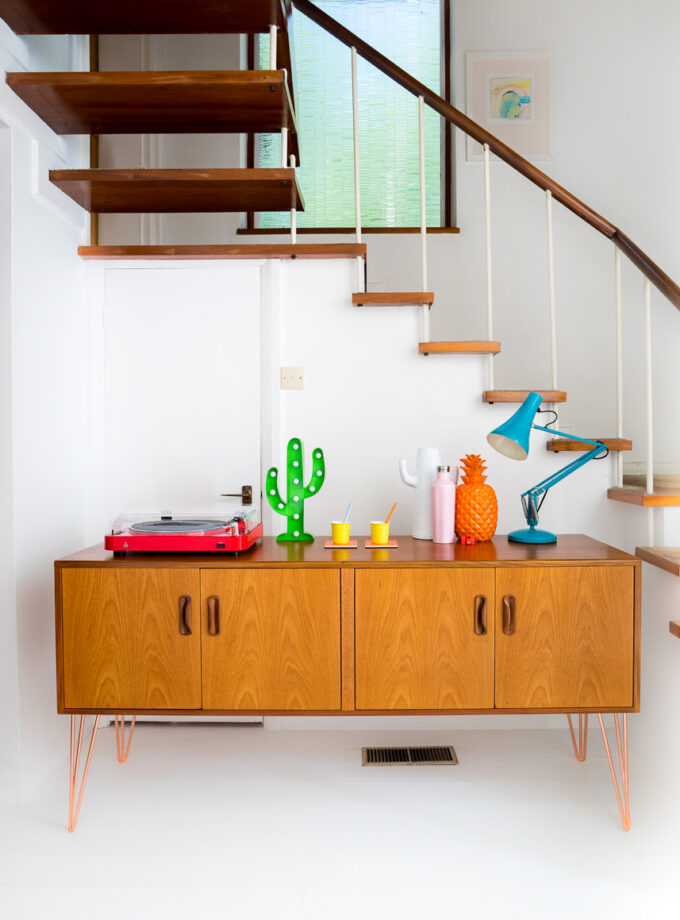 Hello Retro design Gplan Egomme Sideboard on Copper Hairpin Legs