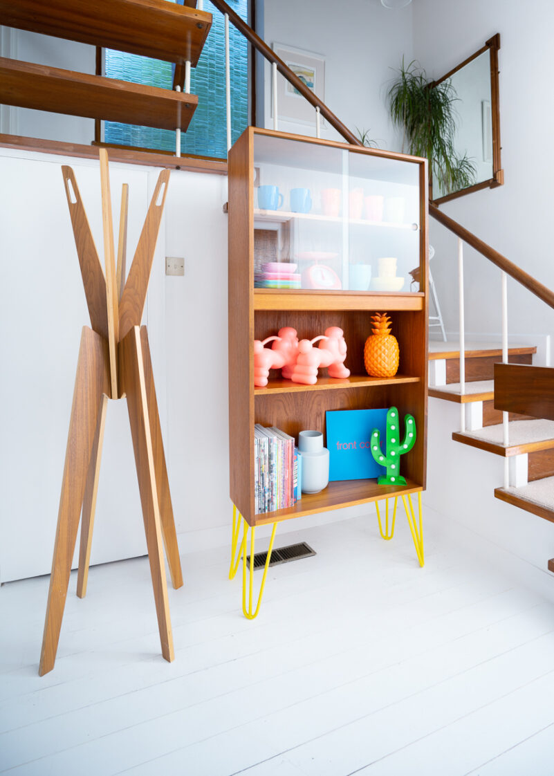 Hello Retro Design Mid Century Teak Gplan Bookcase With Glass Sliding Doors on Yellow Hairpin Legs