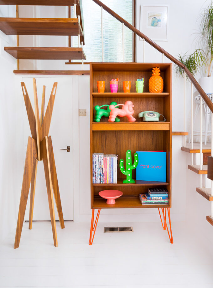 Hello Retro Design Mid Century Teak Gplan Bookcase on Orange Hairpin Legs